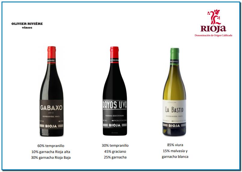 Olivier Rivière es un enólogo inquieto y muy admirado por su gran capacidad técnica, tanto en el campo como en la bodega, un hombre que escucha el terreno, la viña, y sabe interpretarla. Sus vinos son honestos, fieles reflejos del terruño y de las uvas, que cultiva tanto en la Rioja Alavesa, como en Arlanza y Navarra. Por el momento.  Olivier Rivière ha trabajado en diferentes bodegas de renombre, y codo a codo con personalidades importantes del mundo del vino (Elian da Ros, Fréderic Cossard, Domaine Leroy, Telmo Rodríguez...). Su proyecto Olivier Rivière Vinos comienza en Rioja en el año 2006 y a él se une Antoine Habera en el año 2012.  Los viñedos se cultivan sin utilizar ningún tipo de herbicidas ni abonos químicos, y los tratamientos se realizan exclusivamente a base de productos biológicos, aplicados sólo cuando son estrictamente necesarios. La vendimia es manual y la vinificación se lleva a cabo sin añadir levaduras.